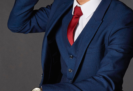 mens fashion formal navy suit with red tie