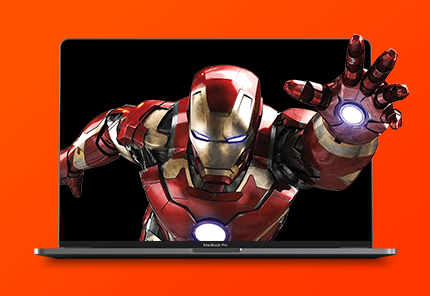 red background iron man coming out of screen