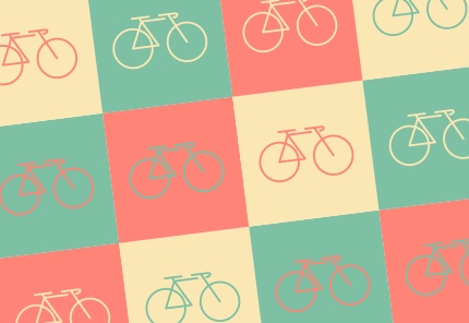 cartoon bike icons on colored tiles