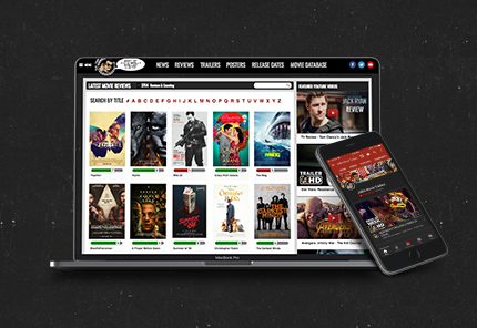 joblo movie review website laptop snapshot