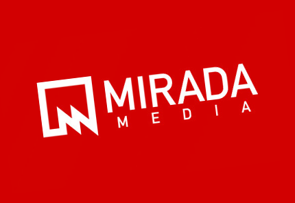red and white media mirada logo