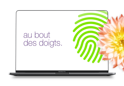 telus website on laptop with green fingerprint