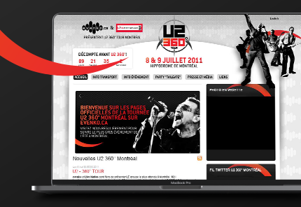 u2 montreal concert website shown on laptop
