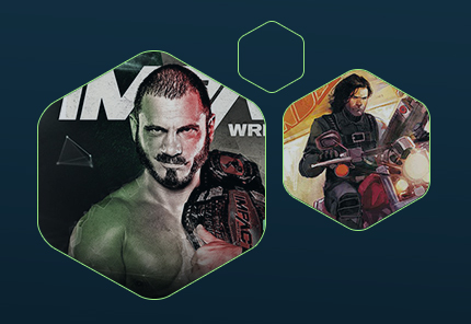 wrestling guy icon and motorcycle