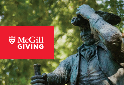 steel statue of man with mcgill logo