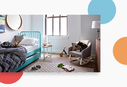 kids bedroom with blue bed
